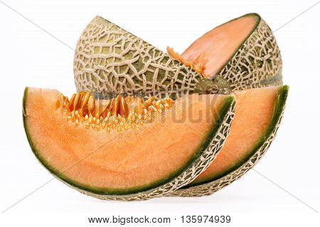 fresh melon cantaloupe isolated on white background.