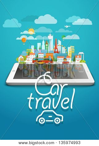 Dirrefent world famous sights. Modern cityscape Vector travel illustration. Car travel concept