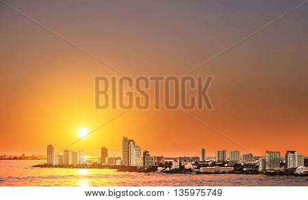 High angle view over Pattaya city in sunset, landmark in east city of Thailand
