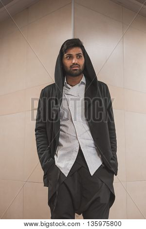 Handsome Indian Man Posing In A Metro Station