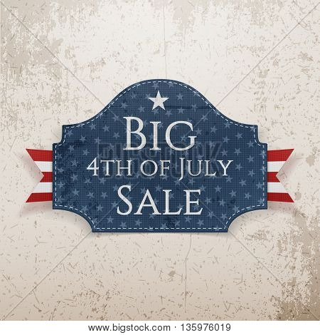 Big 4th of July Sale Emblem with Ribbon. Vector Illustration