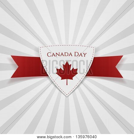 Canada Day festive red Badge. Vector Illustration