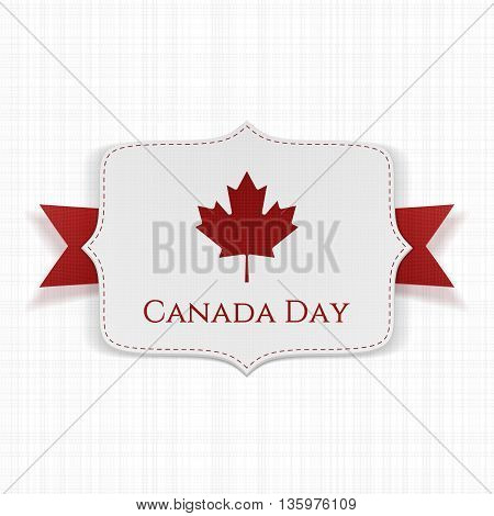 Canada Day patriotic Label with Ribbon. Vector Illustration