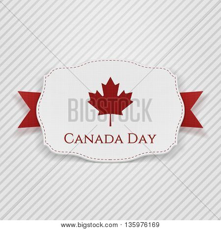 Canada Day Tag with Ribbon. Vector Illustration