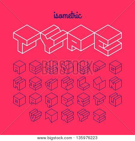 Isometric 3d outline font, three-dimensional alphabet. Vector illustration.
