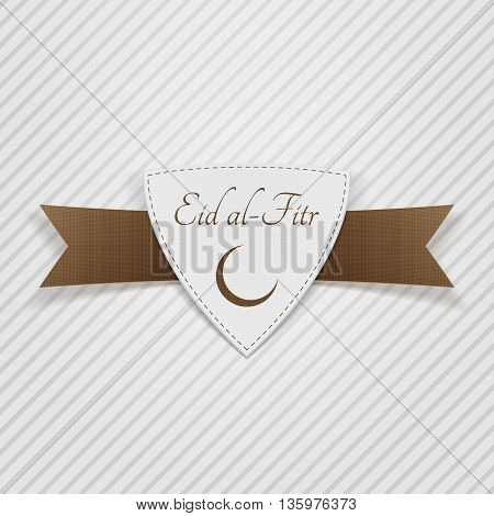 Eid al-Fitr muslim paper Tag. Vector Illustration