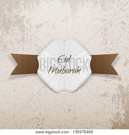 Eid Mubarak greeting paper Badge. Vector Illustration