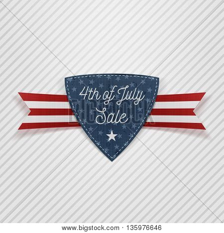 4th of July Sale Tag with Ribbon. Vector Illustration