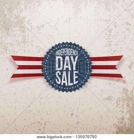 Independence Day Sale textile Emblem. Vector Illustration
