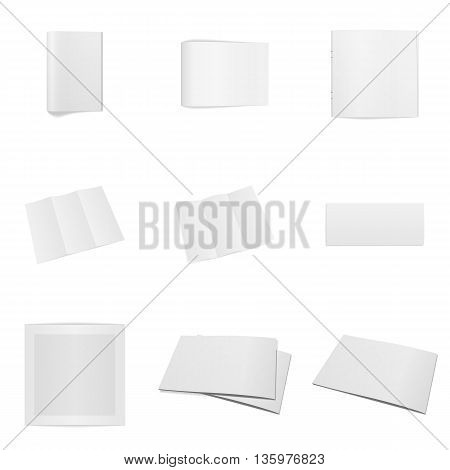 Realistic Office Mockups Set isolated on white Background. Magazines, folded Sheets, Frames and Notepads. Vector Illustration