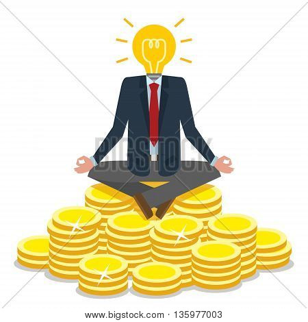 Bulb head businessman sitting on gold coins. Idea lightbulb instead of head. Meditating on golden coins. Concept of creative person, earning money, success.