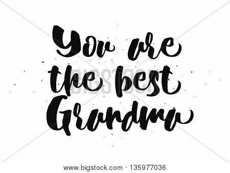 You are the best grandma, grandmother inscription. Greeting card with calligraphy. Hand drawn lettering quote design. Photo overlay. Typography for banner, poster or clothing design. Vector.