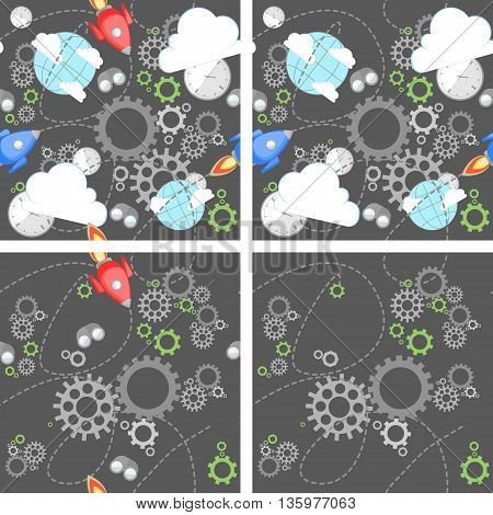 Industrial pattern set on grey background. Wrench, clock, cog, gear, clouds, planet and rocket. Abstract concept of teamwork, successful business and communication.