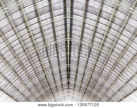 metal structure of roof architecture background .