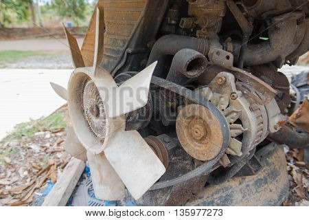Rusty old dirty  car  engine crash repairs. in workshop