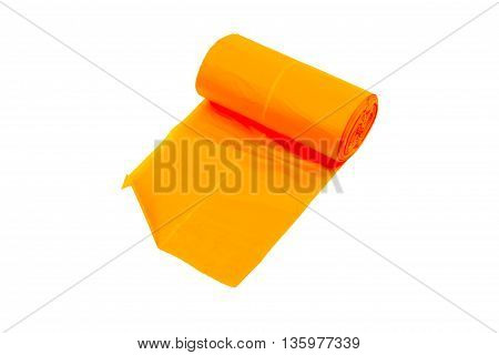 disposable trash bags isolated over white background