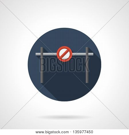 Street barrier with red no way sign on metal bar. Prohibiting passage barrier. Access denied temporary near construction or road work site. Round flat color style vector icon.