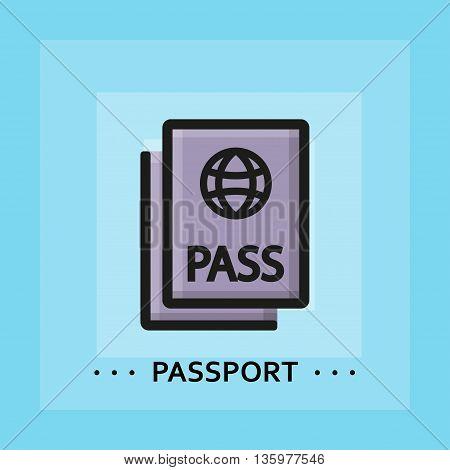 Vector flat passport icon. Line flat sign