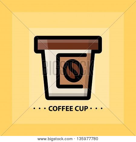 Vector flat coffee icon. Line flat sign