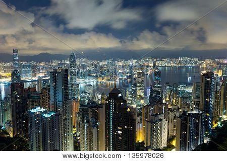 Hong Kong city in mid night