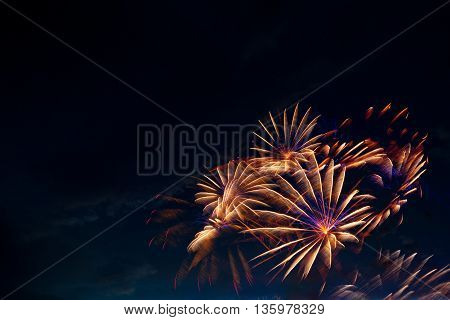 Beautiful Colorful Fireworks On Sky.