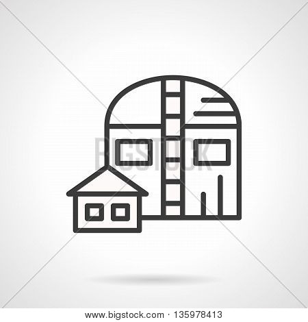 Abstract sign of water pumping station with tank and ladder. Industrial facilities and objects. Ecology concept. Simple black line style icon.