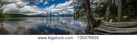 A panoramic picture of Lake McDonald in Glacier National Park.
