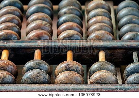 Vintage abacus in close up viewdetail of old wooden abacus.