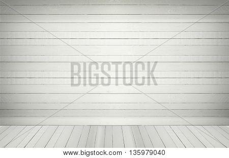 white blank wooden wall floor in an empty room.