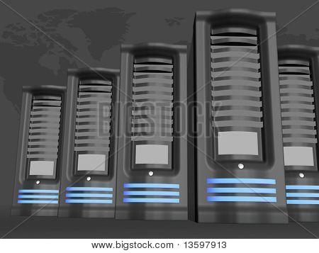 powerful servers over grey