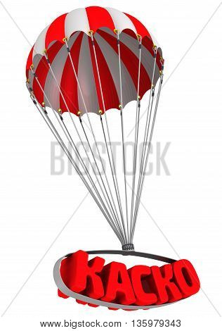 Abbreviation of car insurance (Russian language) is falling down on parachute. Isolated. 3D Illustration