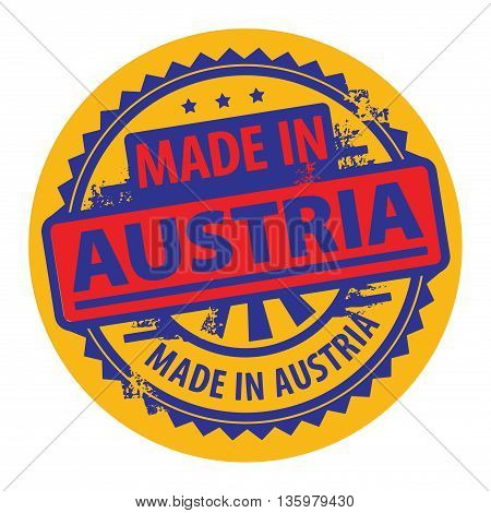 Abstract grunge rubber stamp with the text Made in Austria written inside the stamp, vector illustration