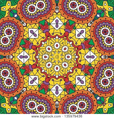 Psychedelic background geometric designs and colored purple  orange  green  yellow and red