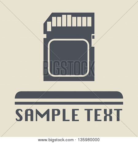 Abstract Memory card icon or sign, vector illustration