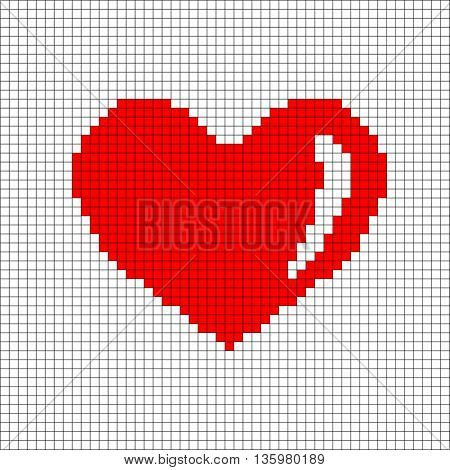 Sign pixel heart. Image of love. Red icon in grid isolated on white background. Color romantic symbol. Logo for game. Light health content. Mark of valentine. Stock vector illustration