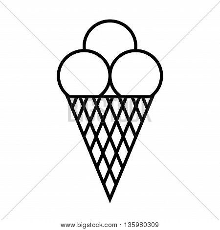 Ice cream symbol. Ice-cream flat mark. Monochrome icon isolated on white background. Cold dairy delicacy. Frozen sweets dessert concept. Delicious snack plane label. Vector illustration