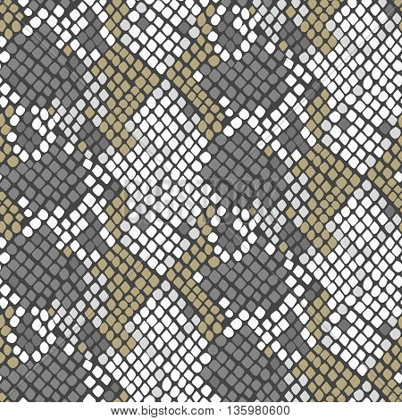 Serpent skin seamless vector texture. Gray and white tone colors snake pattern ornament for textile fabric. Artificial reptile leather pattern.