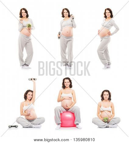 Pregnant woman in sportswear. Fitness and healthy eating concept.