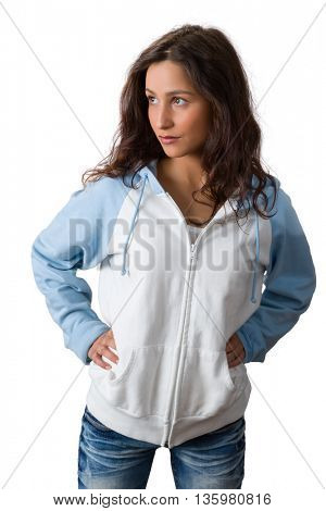 Confident young woman with natural charm posing against a white background