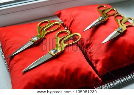 Scissors Pillow Red