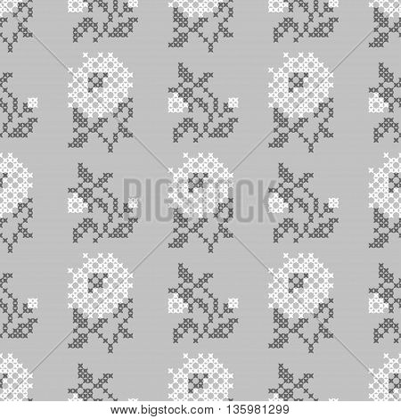 Seamless embroidered texture of abstract flat white grey flowers roses for cloth, wallpaper