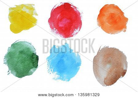 six different watercolor stains dry broad strokes of yellow green blue red orange and brown colors for web design or for invitations and greetings