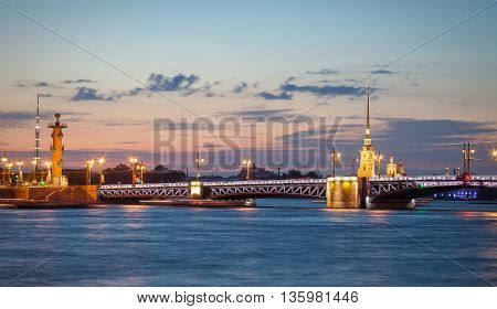 The Palace bridge and the Peter and Paul Cathedral at summer night. Saint Petersburg