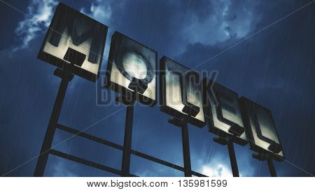 Old Grungy Motel Sign in Rain Real Clouds Timelapse and 3D Design Composite