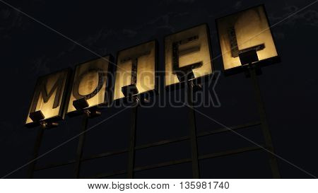 Old Grungy Motel Sign On The Road At Night