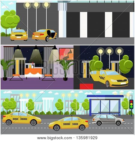 Taxi service company concept vector banner. Taxi cabs on a street. Taxi call center interior.