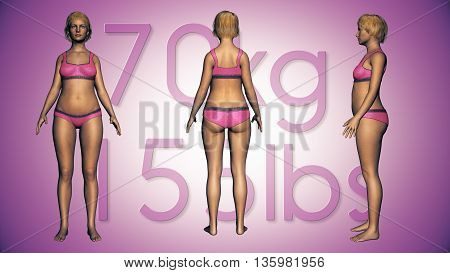 3D Illustration Of A Fat Woman Losing Body Weight And Bmi Index