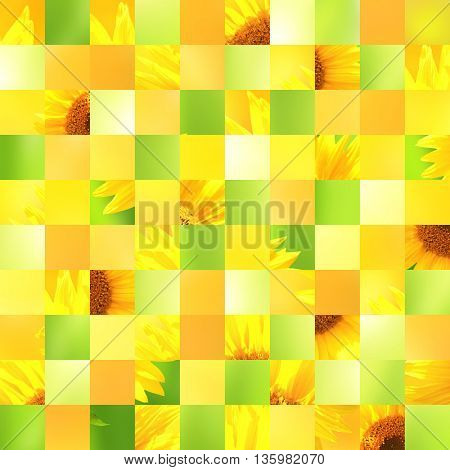 Seamless background with sunflower patterns of green, yellow, orange colors. Endless texture can be used for wallpaper, pattern fills, web page background, surface textures