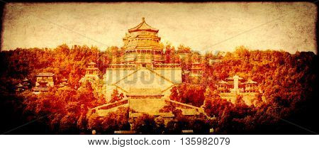Grunge background with paper texture and landmark of China - Summer Palace in Beijing. UNESCO world heritage site