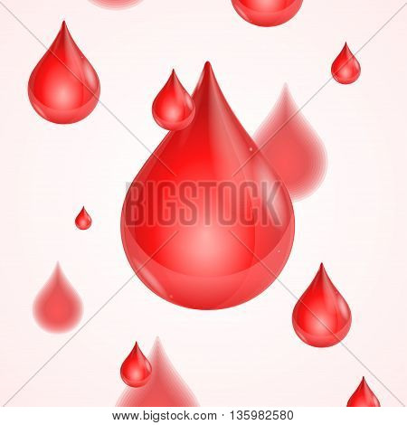 Blood Donation Background with Shiny and Drops. Medical Design Element. Vector illustration